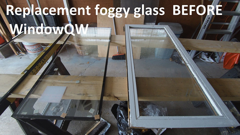 Replacement foggy glass (before)